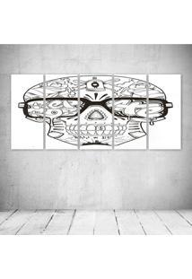 Quadro Decorativo - Skull Glass - Composto De 5 Quadros - Multicolorido - Dafiti
