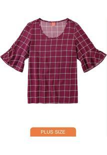 Blusa Bordô Quadriculado Com Abertura