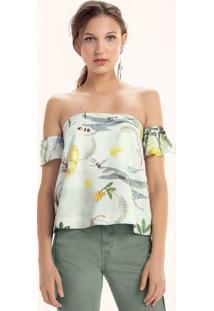 Blusa Shoulderless Estampada Em Tecido Viscolinho