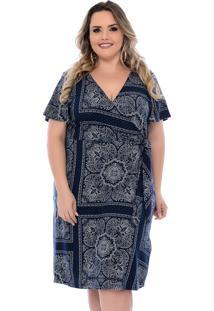 Vestido Plus Size Azulejo Arimath Plus Português Azul Marinho