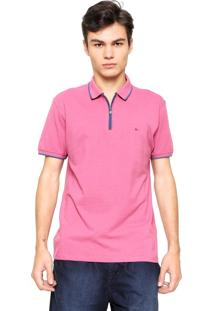 Camisa Polo Aramis Manga Curta Logo Rosa