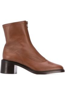 By Far Front Zip Ankle Boots - Marrom