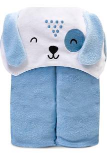 Toalha De Banho Papi Forrada Azul
