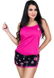 Pijama Mvb Modas Blusinha Alça E Short Curto Feminino - Feminino-Rosa