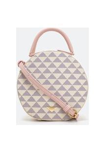 Bolsa Pequena Transversal Redonda Estampa De Triângulos