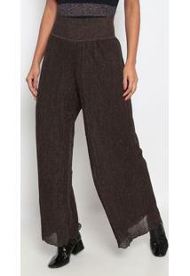 Calça Pantalona Em Tricô Com Fios Metalizados - Marromeva