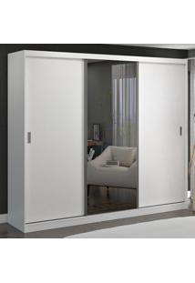 Guarda-Roupa Casal 3 Portas De Correr Com 1 Espelho 100% Mdf 7318E1 Branco - Foscarini