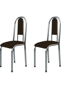 Kit 2 Cadeiras Anatômicas 0.122 Estofada Cromado/Tabaco - Marcheli