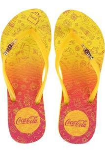 Chinelo Coca-Cola Doodles Feminino - Feminino-Amarelo