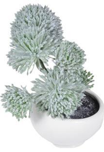 Vaso Com Flor Artificial- Branco & Verde- 29X18X18Cmbtc Decor