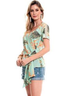 Blusa Bisô Amarração Estampada Feminino - Feminino-Verde
