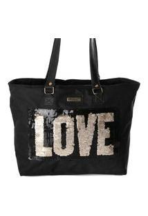 Bolsa Tote Shopper Feminina Paetê Alça Ombro Dia A Dia