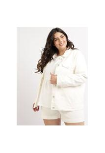 Jaqueta Jeans Feminina Plus Size Mindset Com Recortes Bolsos E Botões Branca