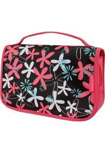 Necessaire De Viagem Estampada Jacki Design Miss Douce Pink Floral - Kanui