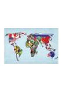 Painel Adesivo De Parede - Mapa Mundi - Mundo - 1300Pnp
