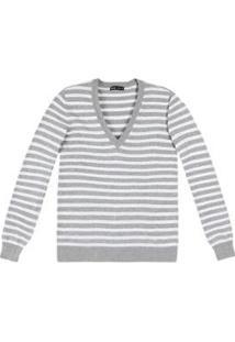 Blusa Tricô Hering Básico Listrado Feminina - Feminino-Cinza+Branco