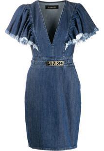 Pinko Vestido Jeans Com Franjas Nas Mangas - Azul