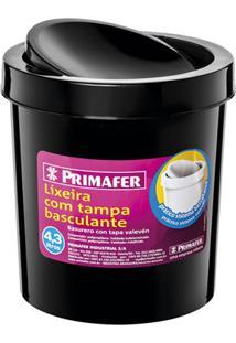 Lixeira Redonda Com Tampa Basculante 4,3 Litros Preta