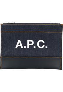 A.P.C. Logo Denim Clutch Bag - Azul