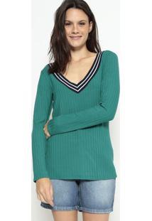 Blusa Canelada Com Recorte - Verde & Azul Escuromalwee