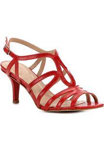 Sandália Couro Shoestock Croco Salto Alto Feminina - Feminino-Vermelho