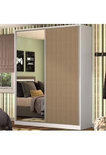 Guarda-Roupa Casal 2 Portas Correr 1 Espelho 100% Mdf Rc2003 Branco/Ocre - Nova Mobile