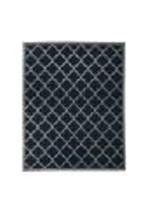 Tapete Grano Retangular Polipropileno (300X400Cm) Cinza E Azul