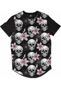 6cd82b98d0 ... Camiseta Longline Bsc Caveira E Lírios Rosa Sublimada Masculina -  Masculino-Preto