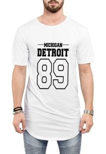 Camiseta Criativa Urbana Long Line Oversized Michigan Detroit 89 - Masculino