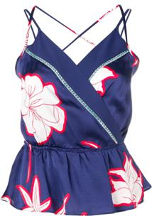 Pinko Floral Print Blouse - Azul