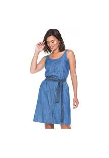 Vestido Alça Jeans Liocel Lúcia Figueredo Azul
