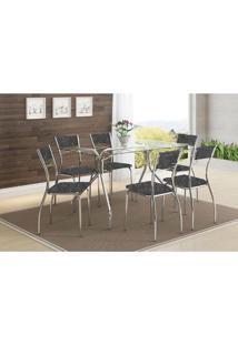 Mesa 387 Com Vidro Incolor Cromada Com 6 Cadeiras 1701 Fantasia Preto Carraro