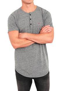 Camiseta Hollister Slim Masculina - Masculino-Cinza