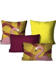 Kit Mdecore Com 4 Capas Para Almofadas Flamingo Amarelo