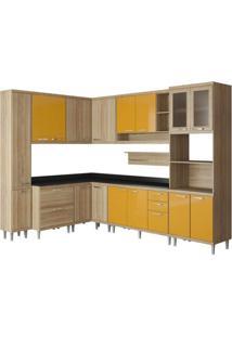 Cozinha Completa Com Tampo 10 Peças Sicília Multimóveis Argila Acetinado/Laca Amarelo