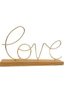 Enfeite Metal Palavra Love Dourado Com Base De Madeira - Dourado - Feminino - Dafiti