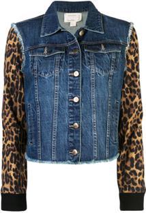 Nicole Miller Jaqueta Jeans Furry Leopard - Azul