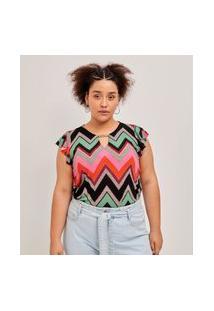 Blusa Com Babado Nos Ombros Curve E Plus Size Multicolorido