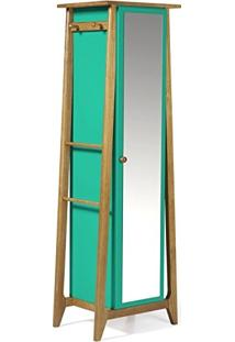 Armário Multiuso 1 Porta Stoka Maxima Nogal/Verde Anis