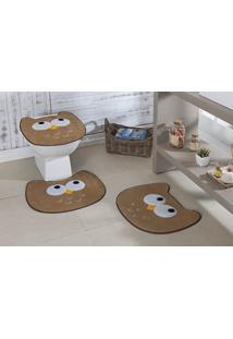 Jogo De Banheiro Premium Formato Coruja Bege Guga Tapetes