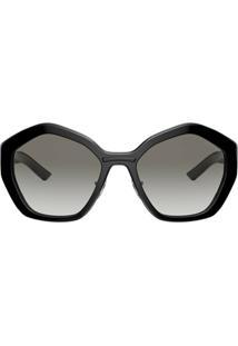 Prada Eyewear Óculos De Sol Oversized Geométrico - Preto