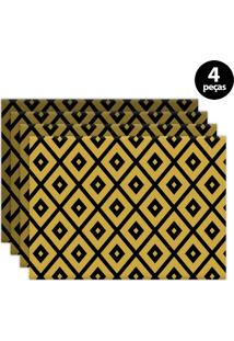 Kit 4Pçs Jogo Americano Mdecor Abstrato 40X28Cm Amarelo