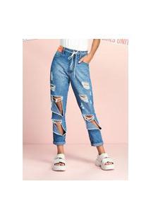 Calça Jeans Mom Com Rasgos