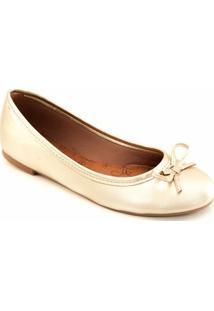 Sapatilha Laço Bico Redondo Sapato Show Feminina - Feminino-Ouro