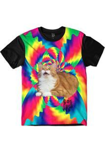Camiseta Lf Gato Sublimada Tie Dye Sublimada Masculina - Masculino-Rosa