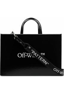 Off-White Bolsa Box Média Com Logo - Preto