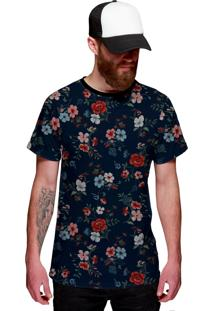 Camiseta Di Nuevo Florida Floral Várias Cores Azul Marinho