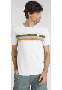 Camiseta Masculina Água De Coco Com Estampa Listrada Manga Curta Gola Careca Cinza Mescla Claro