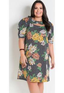 Vestido Floral Poá Plus Size Com Vazado