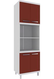 Paneleiro Torre Quente 4 Portas Hecol Móveis Vermelho/Branco